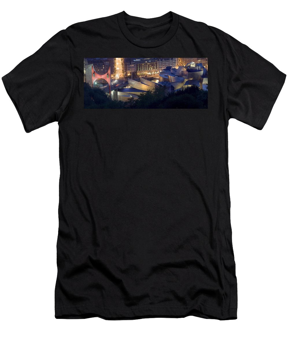 Spain Men's T-Shirt (Athletic Fit) featuring the photograph Guggenheim At Night by Rafa Rivas