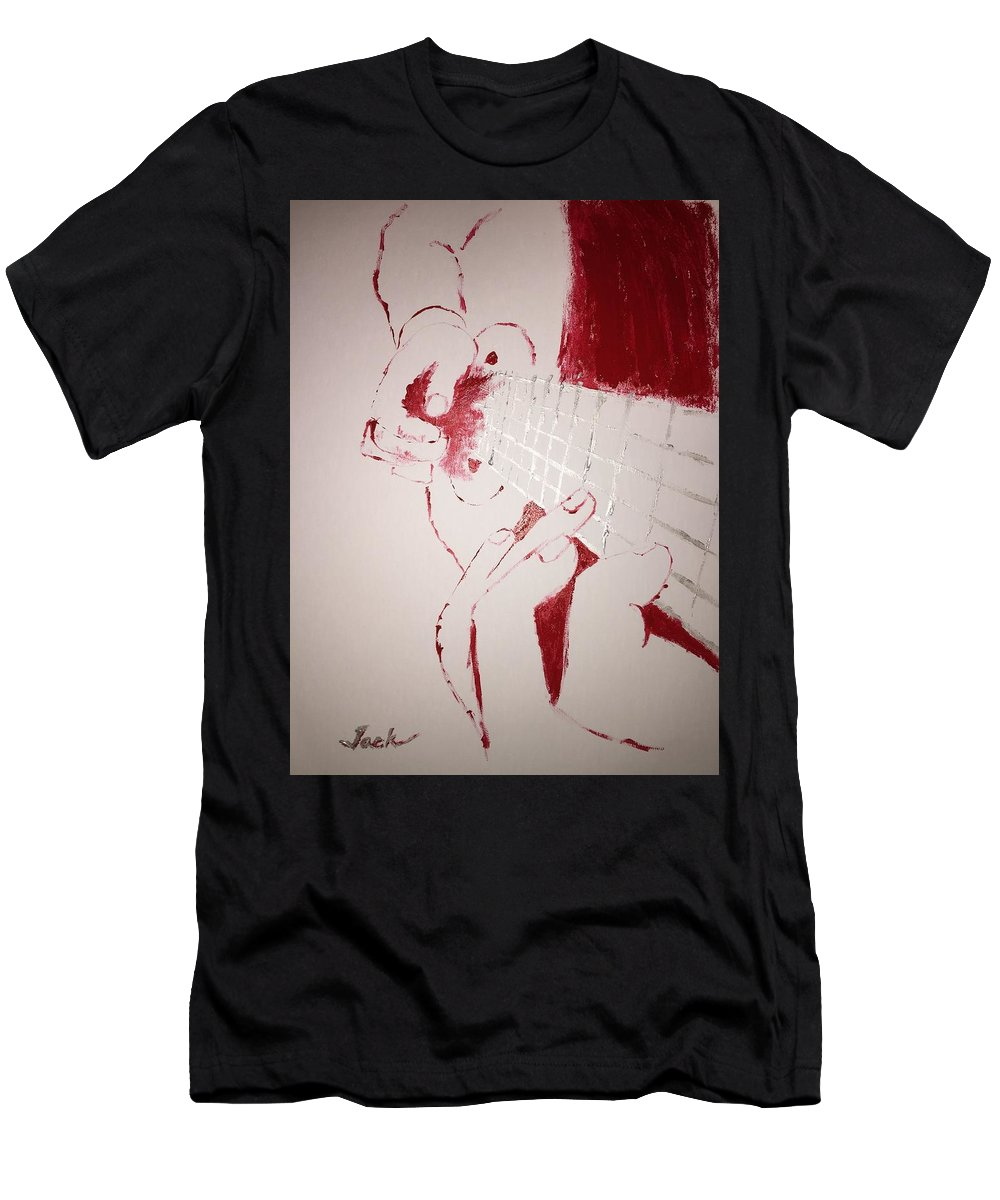 Men's T-Shirt (Athletic Fit) featuring the painting Guitar Strumming by Jack Bunds