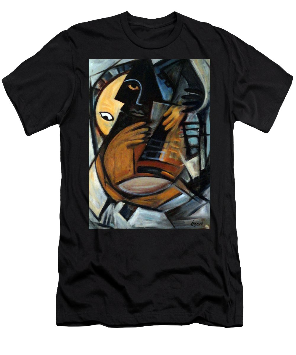 Cubism Men's T-Shirt (Athletic Fit) featuring the painting Guitarist by Valerie Vescovi