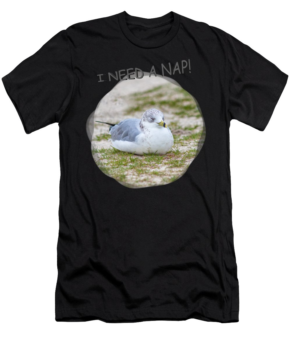 Beach Men's T-Shirt (Athletic Fit) featuring the photograph Gull Nap Time by John M Bailey