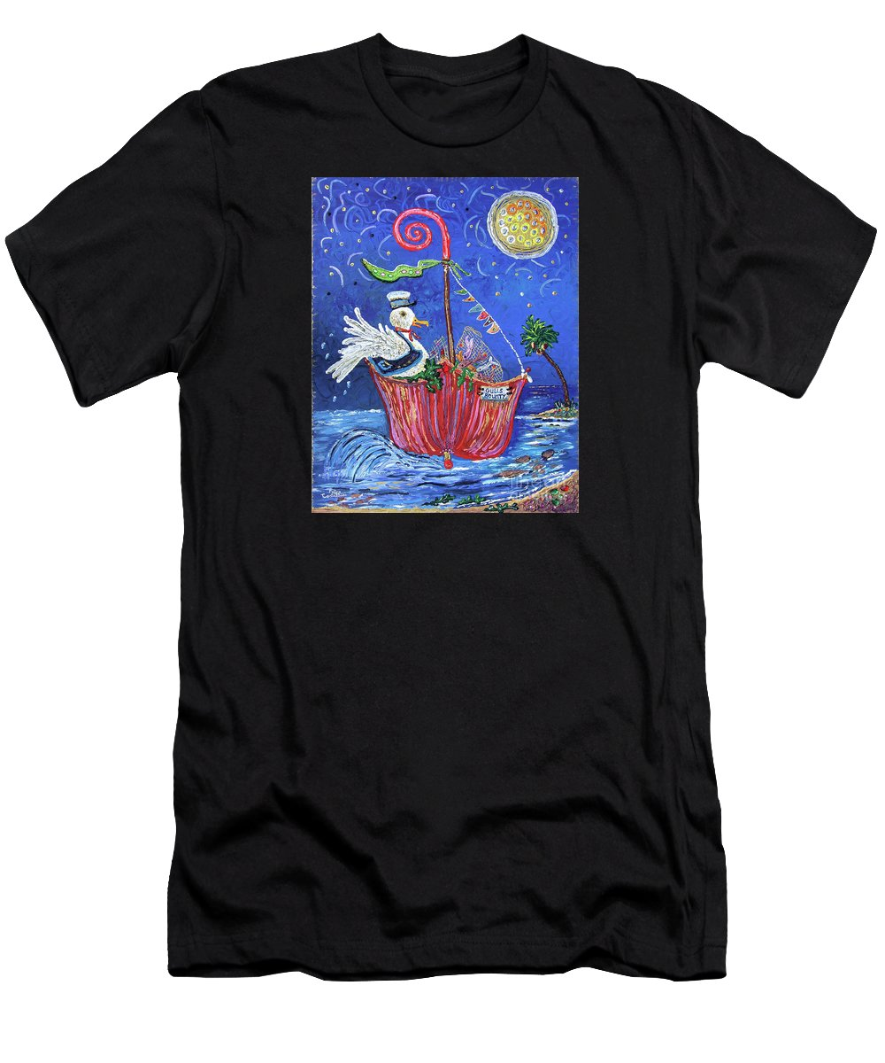 Children's Illustration Men's T-Shirt (Athletic Fit) featuring the painting Gull's Bounty by Pietra Castellani