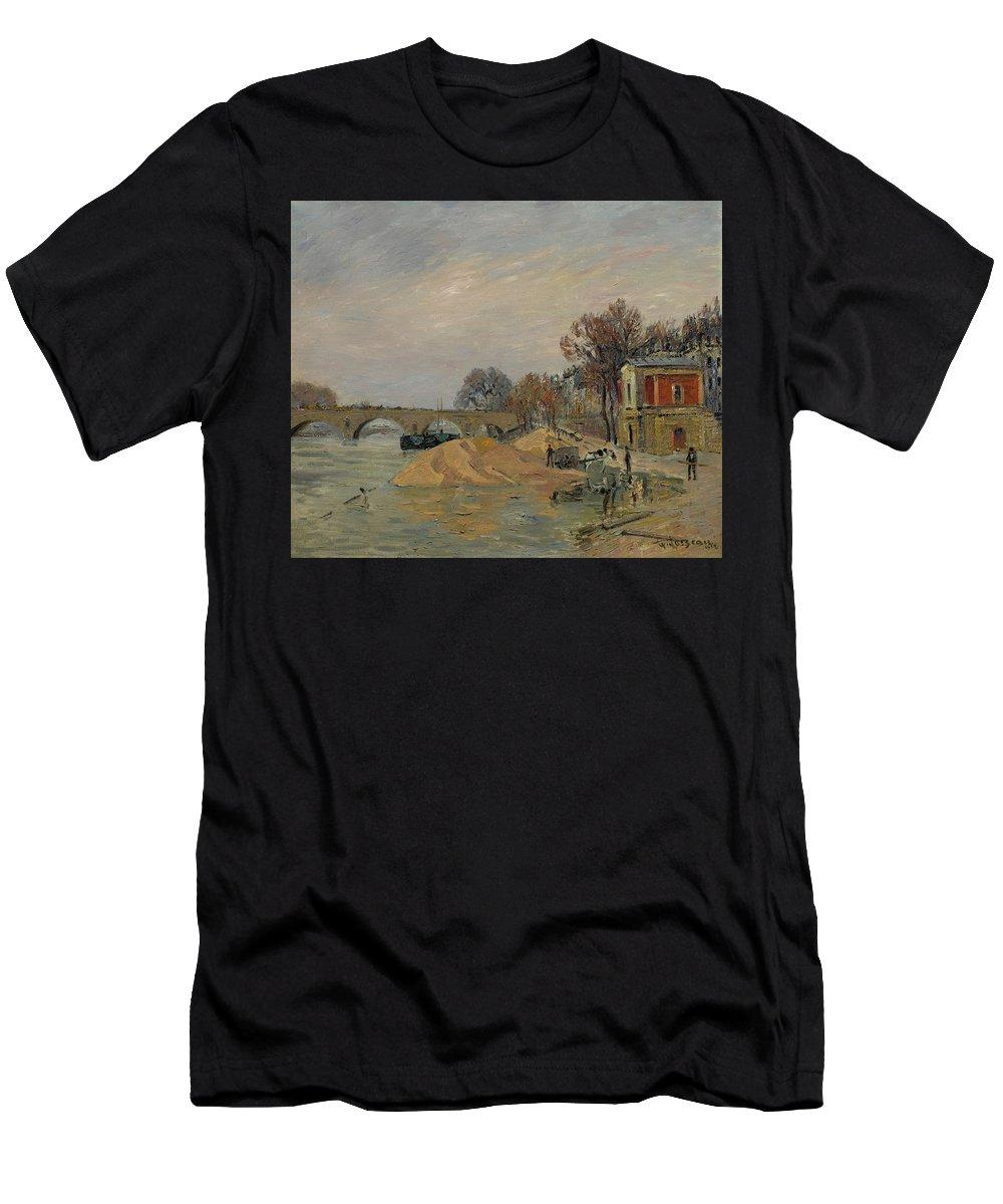 Gustave Loiseau 1865 - 1935 Marie Bridge In Paris Men's T-Shirt (Athletic Fit) featuring the painting Gustave Loiseau 1865 - 1935 Marie Bridge In Paris by Adam Asar