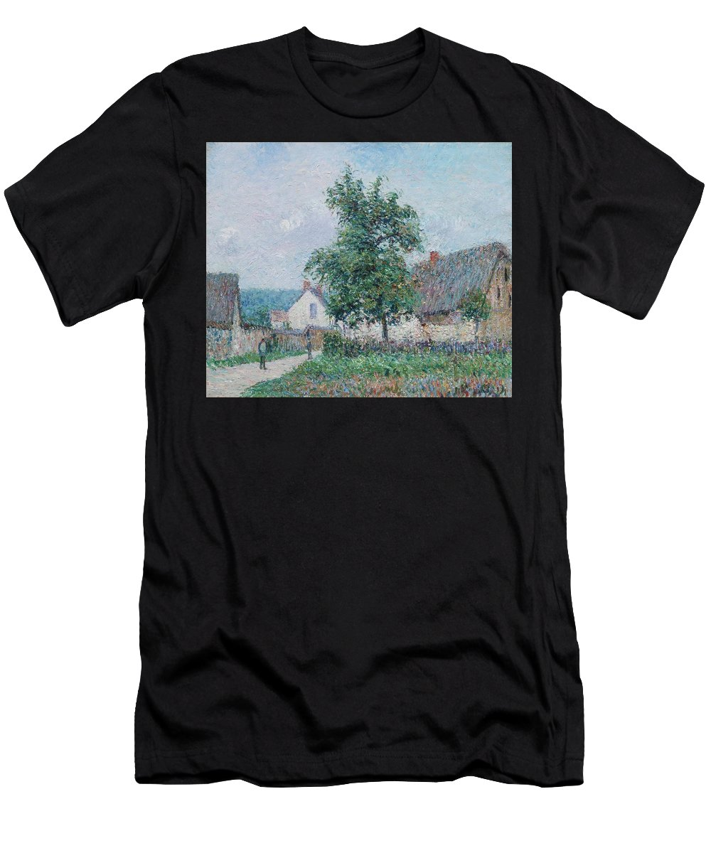 Gustave Loiseau 1865 - 1935 Small Farm In Vaudreuil Men's T-Shirt (Athletic Fit) featuring the painting Gustave Loiseau 1865 - 1935 Small Farm In Vaudreuil, Time Gray by Adam Asar