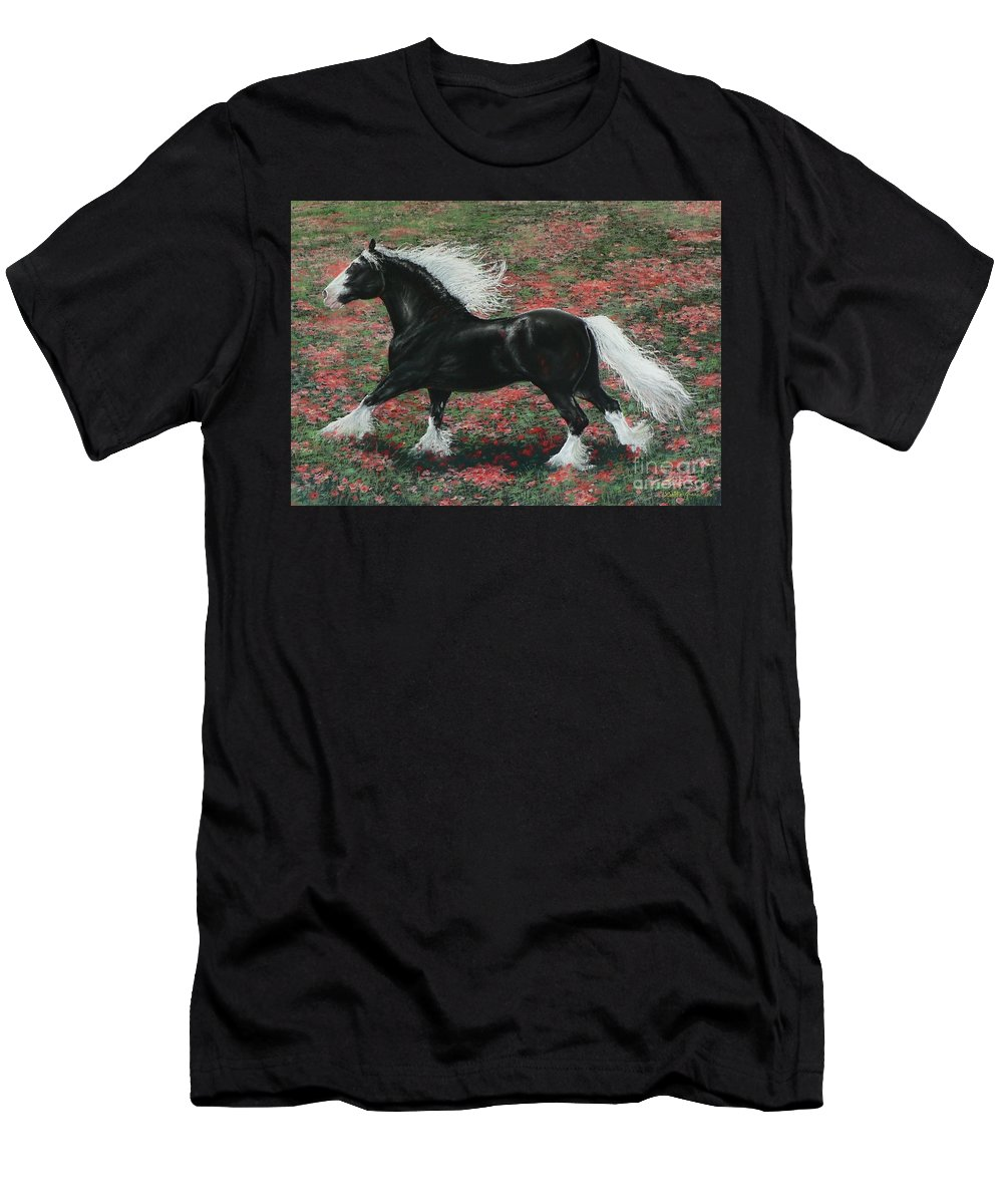 Gypsy Cob Men's T-Shirt (Athletic Fit) featuring the painting Gypsy Fire by Louise Green