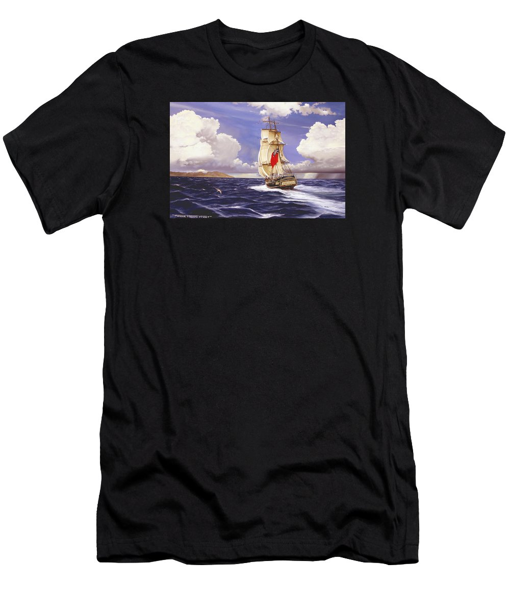 Marine Men's T-Shirt (Athletic Fit) featuring the painting H. M. S. Bounty At Tahiti by Marc Stewart
