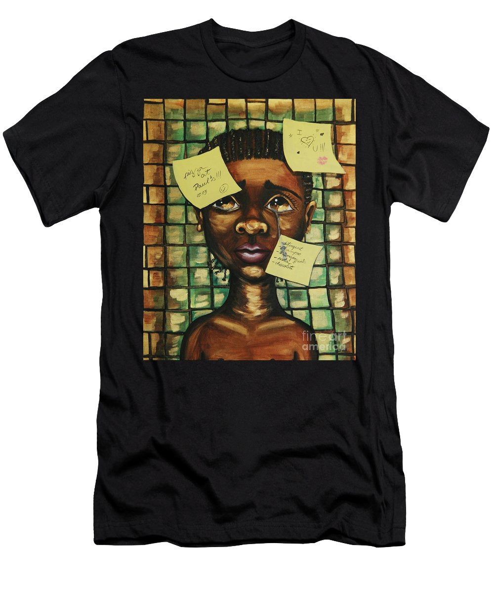 Child Men's T-Shirt (Athletic Fit) featuring the painting Haiti 2010 by Cris Motta