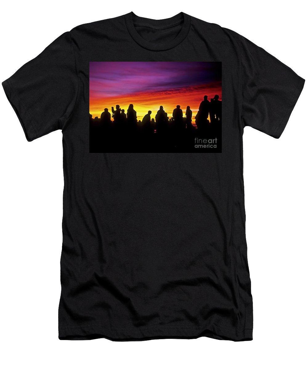 Haleakala Sunrise Men's T-Shirt (Athletic Fit) featuring the photograph Haleakala Color Show by Jim Cazel