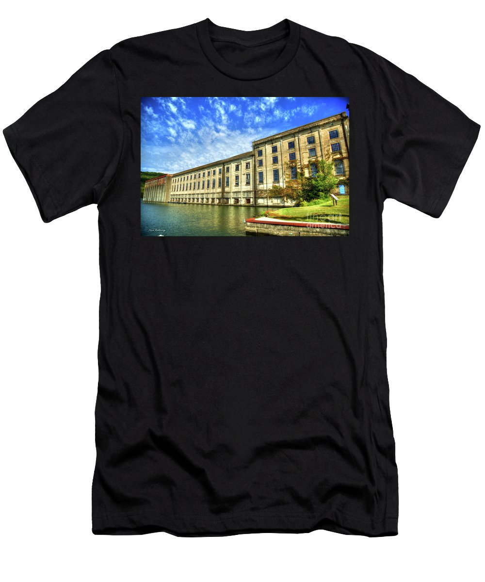 Reid Callaway Hales Bar Dam Men's T-Shirt (Athletic Fit) featuring the photograph Hales Bar Dam Tennessee Valley Authority Tennessee River Art by Reid Callaway