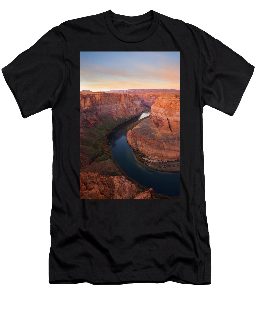 Horseshoe Bend Men's T-Shirt (Athletic Fit) featuring the photograph Half Bend Sunrise by Mike Dawson
