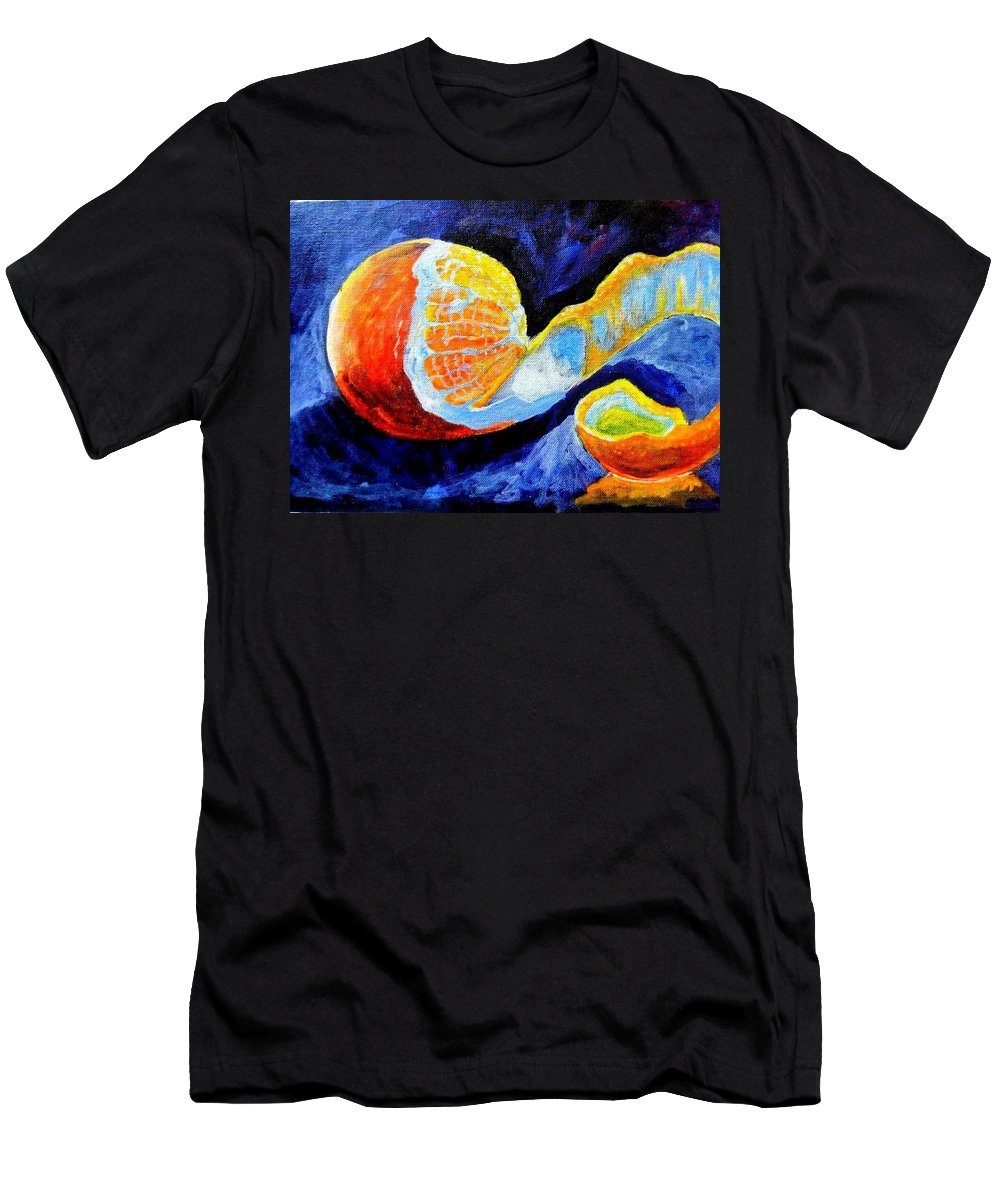 Orange Men's T-Shirt (Athletic Fit) featuring the painting Half Peeled Orange by Ramesh Mahalingam