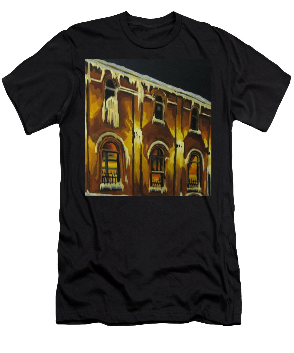 Urban Landscapes Men's T-Shirt (Athletic Fit) featuring the painting Halifax Ale House In Ice by John Malone