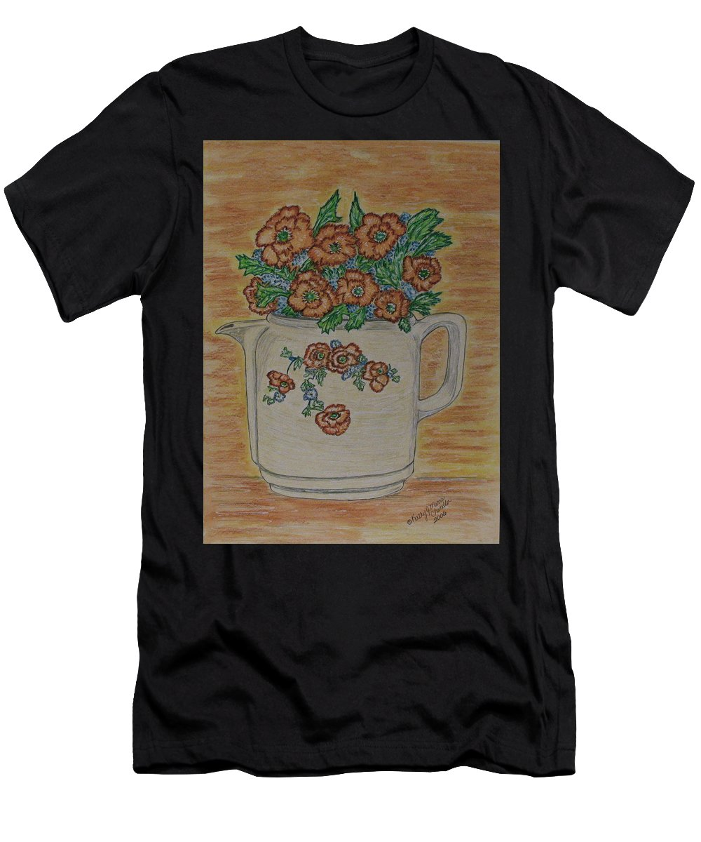 Hall China Men's T-Shirt (Athletic Fit) featuring the painting Hall China Orange Poppy And Poppies by Kathy Marrs Chandler