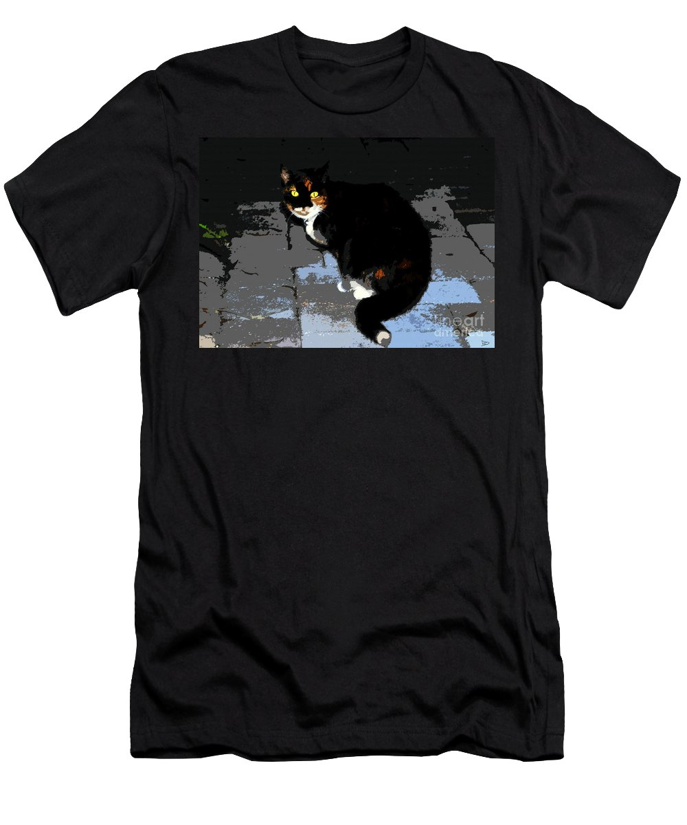 Halloween Men's T-Shirt (Athletic Fit) featuring the painting Halloween Cat by David Lee Thompson