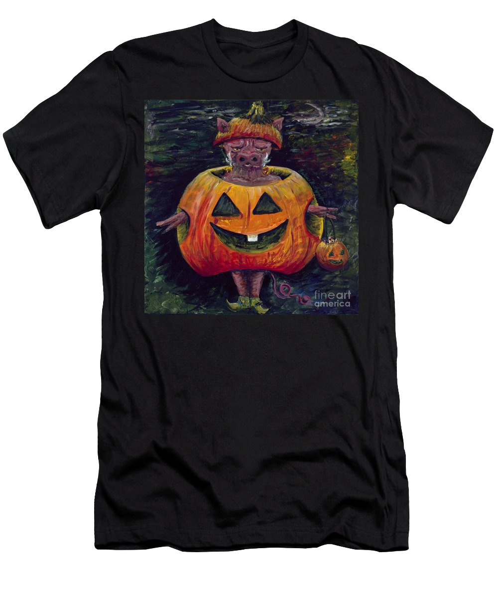 Halloween Men's T-Shirt (Athletic Fit) featuring the painting Halloween Hog by Nadine Rippelmeyer