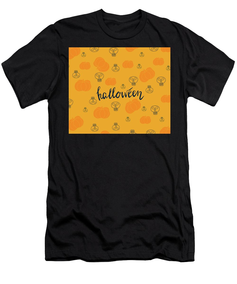 Halloween Men's T-Shirt (Athletic Fit) featuring the drawing Halloween Pumpkins by Daria Pakhomova