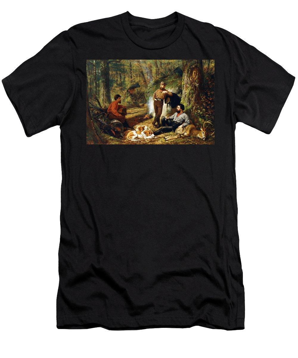 Hunt Men's T-Shirt (Athletic Fit) featuring the painting Halt On The Portage by Arthur Fitzwilliam Tait