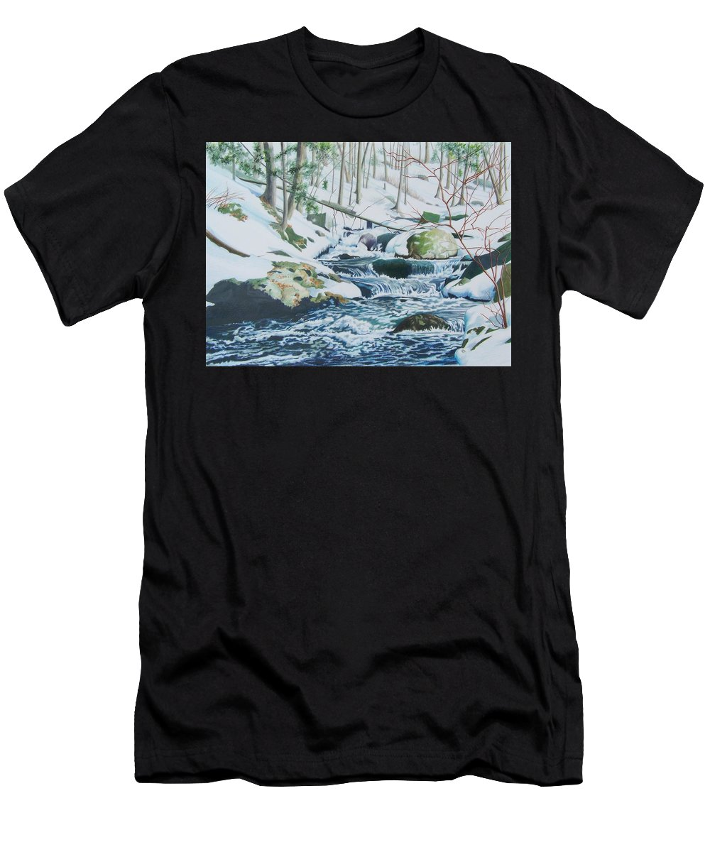 Snow Men's T-Shirt (Athletic Fit) featuring the mixed media Hamburg Mountain Stream by Constance Drescher