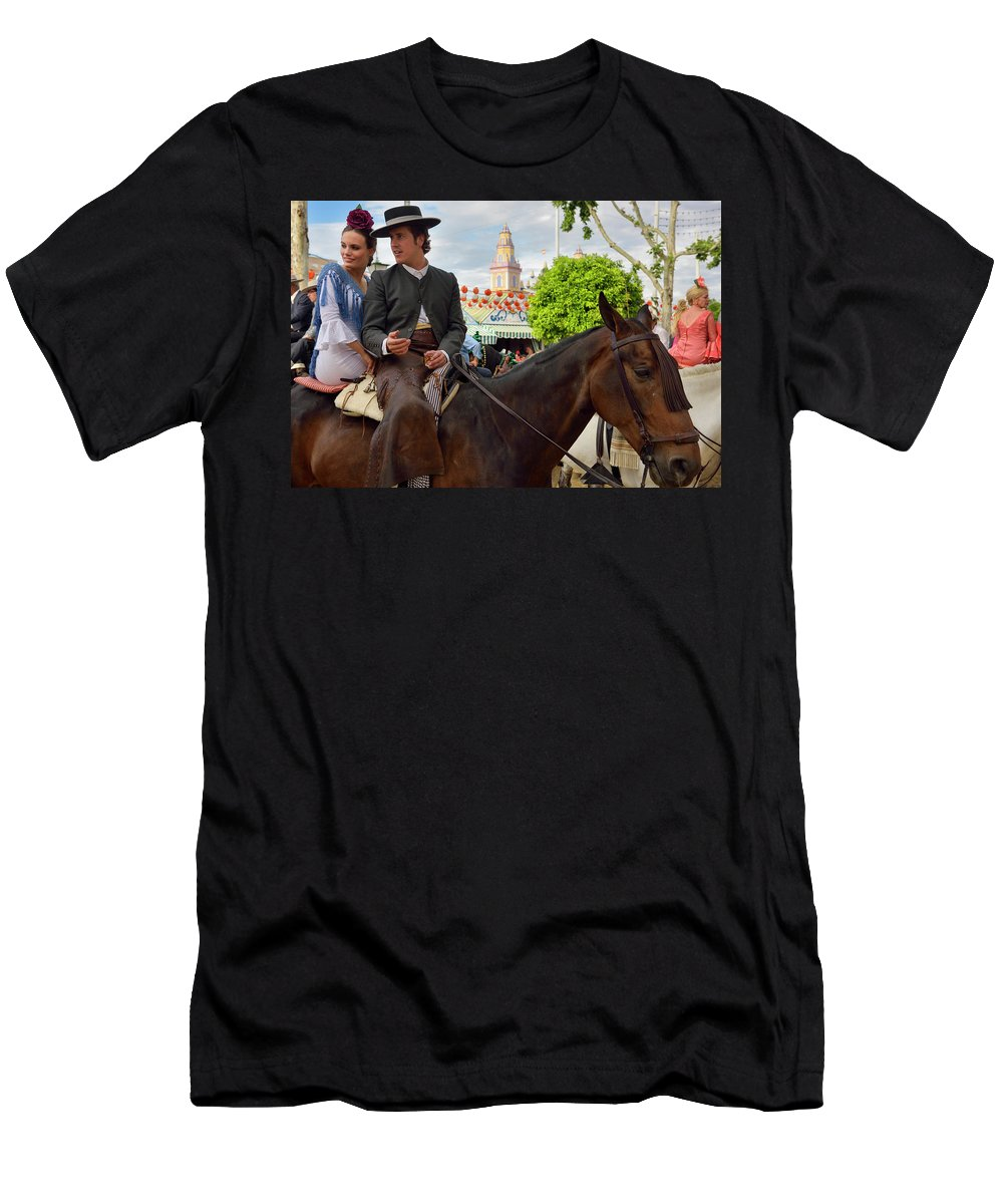 Horses Men's T-Shirt (Athletic Fit) featuring the photograph Handsome Man And Beautiful Woman Drinking On Horseback With 2015 by Reimar Gaertner