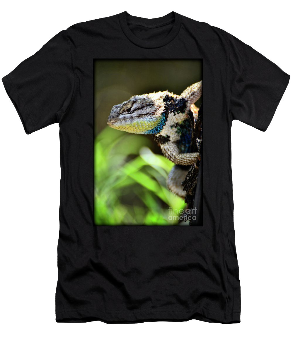 Spiny Lizard Men's T-Shirt (Athletic Fit) featuring the photograph Hangin' Out by Saija Lehtonen