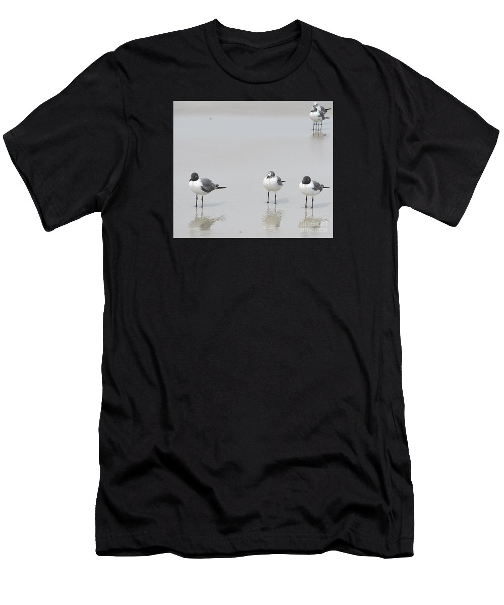 Contemporary Art Men's T-Shirt (Athletic Fit) featuring the photograph Hanging Out At The Beach by Sharon Nelson-Bianco