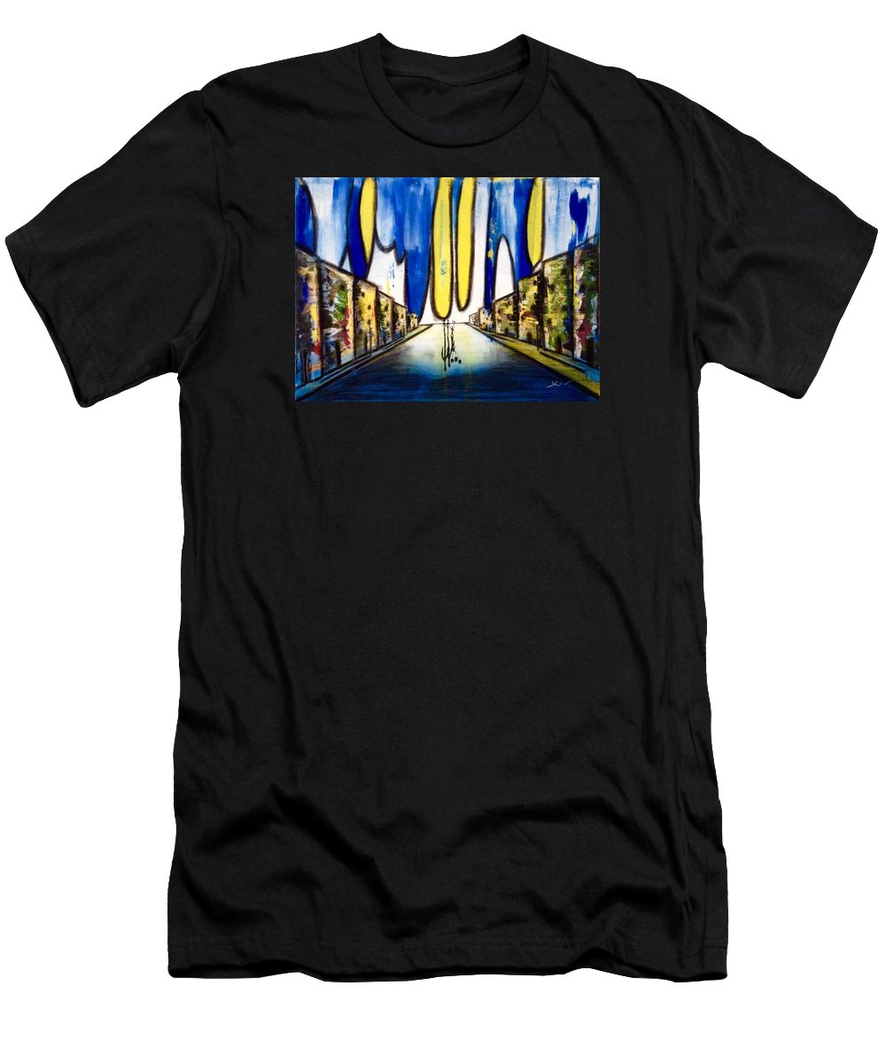 Victor Xiu Art Ballons Happy Most Famous Blue Millions Men's T-Shirt (Athletic Fit) featuring the painting Happy Ballons by Victor Xiu