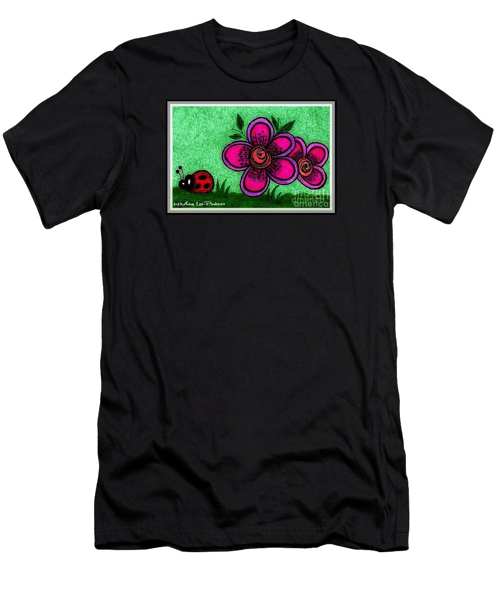 Flowers Men's T-Shirt (Athletic Fit) featuring the drawing Happy Day by MaryLee Parker