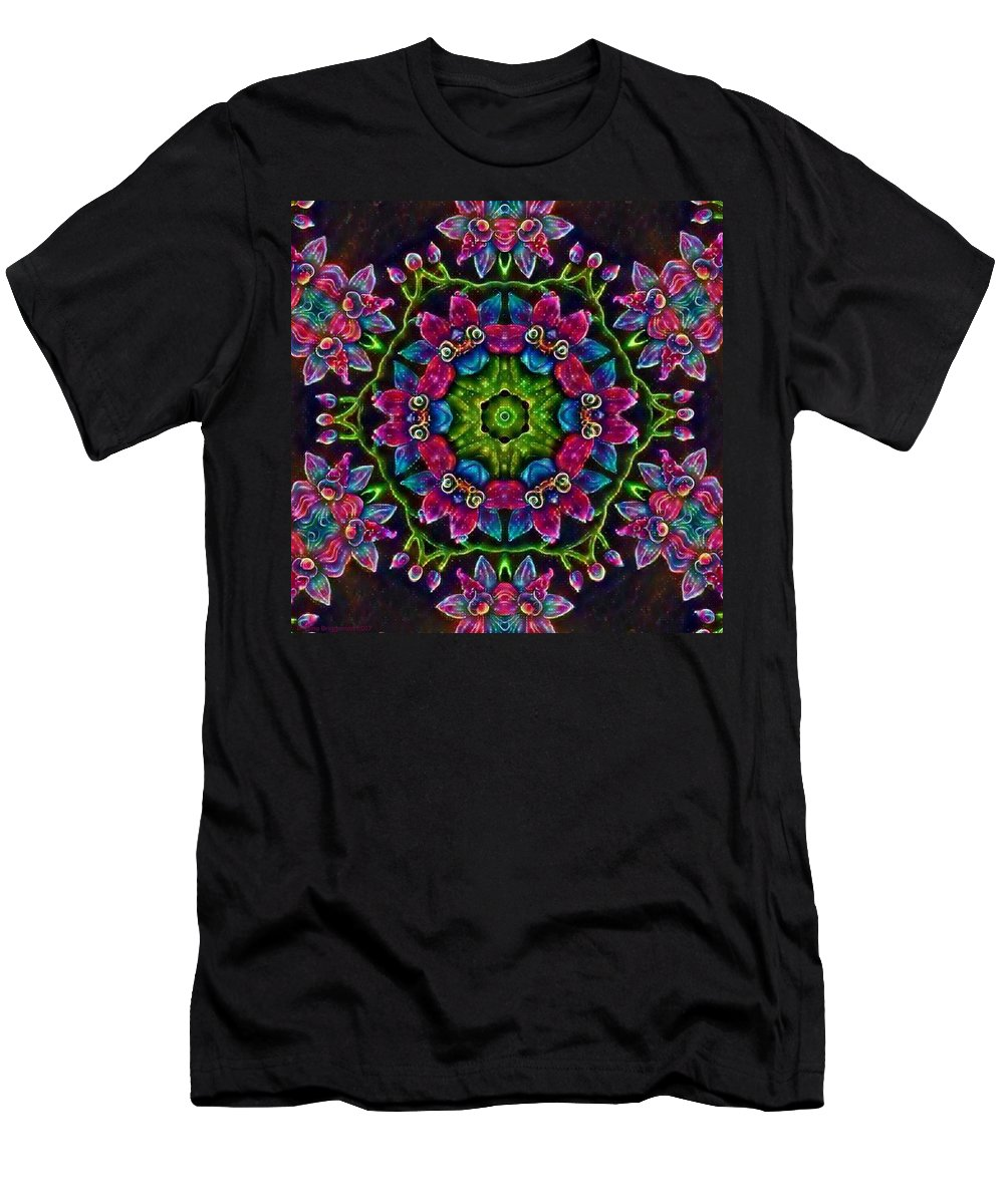 Original Prismacolor Pencil Drawing Digital Photograph Breena Briggeman Flower Floral Nature Kaleidoscope Black Blue Yellow Green Purple Pink White Men's T-Shirt (Athletic Fit) featuring the digital art Happy Go Lucky by Breena Briggeman