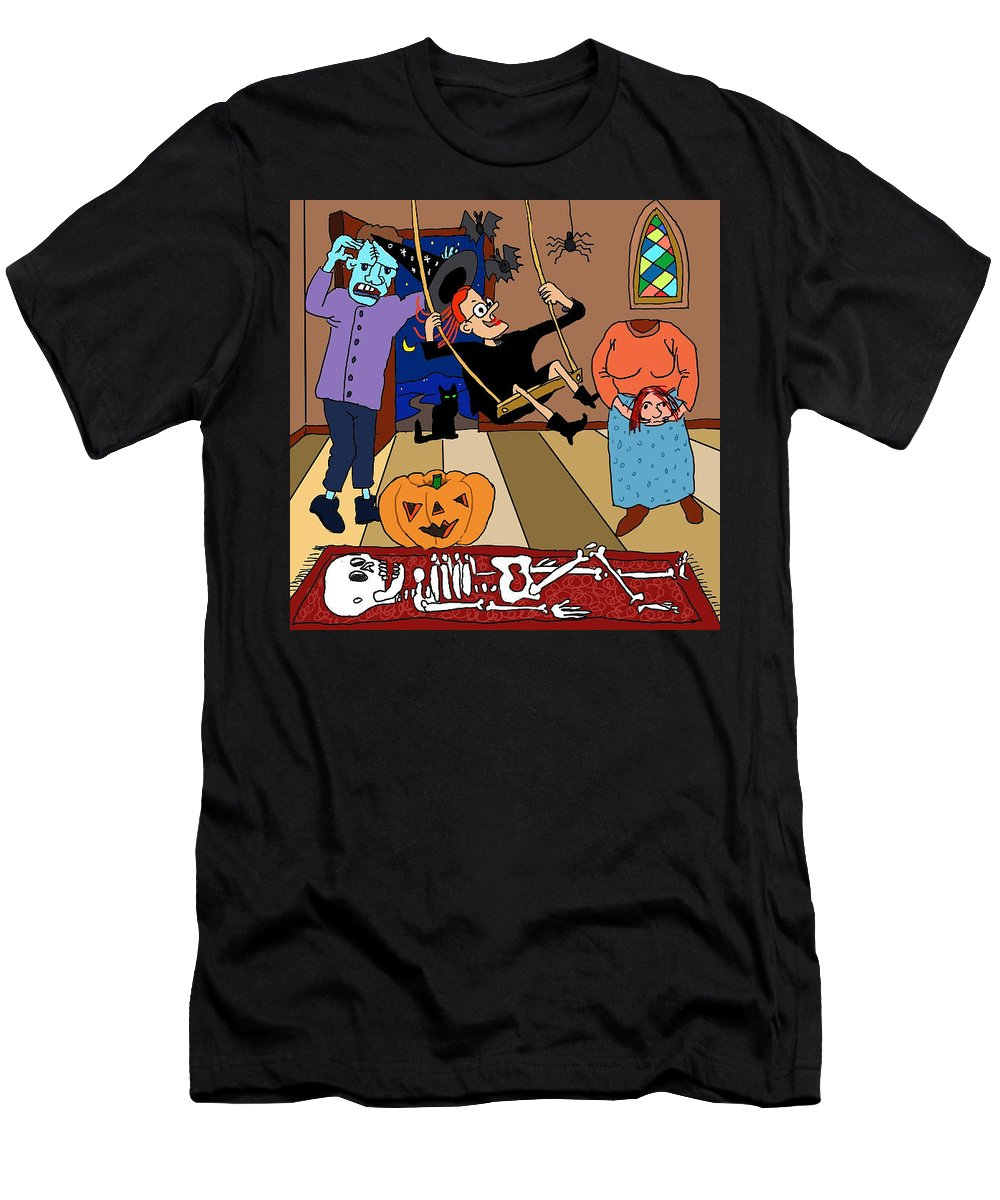 Halloween Men's T-Shirt (Athletic Fit) featuring the digital art Happy Halloween Party by Debi Lewis