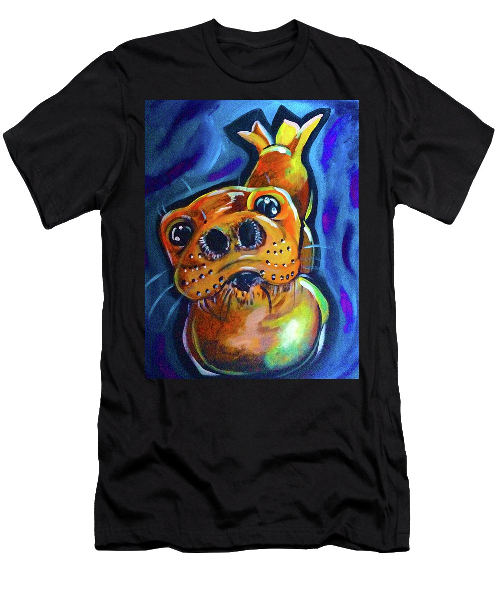Seal Wild Life Wildlife Ocean Sea Marine Animal Blue Bright Colors Contrast Abstract Happy Whiskers Cute Alaska Ak Alaskan Men's T-Shirt (Athletic Fit) featuring the painting Happy Seal by Lori Teich