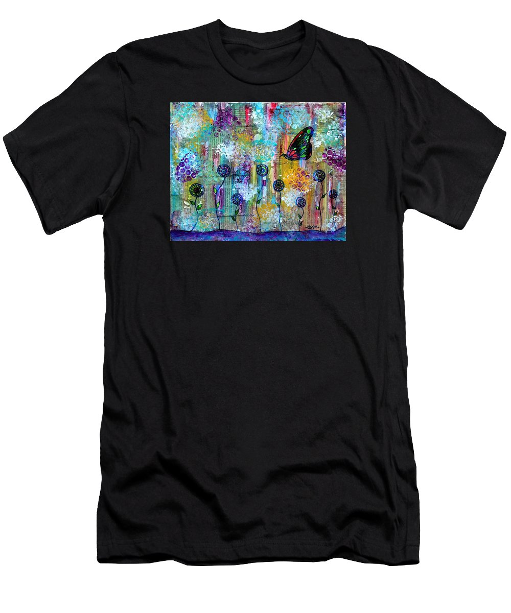 Butterfly T-Shirt featuring the painting Happy Times Abstract with butterfly by Manjiri Kanvinde