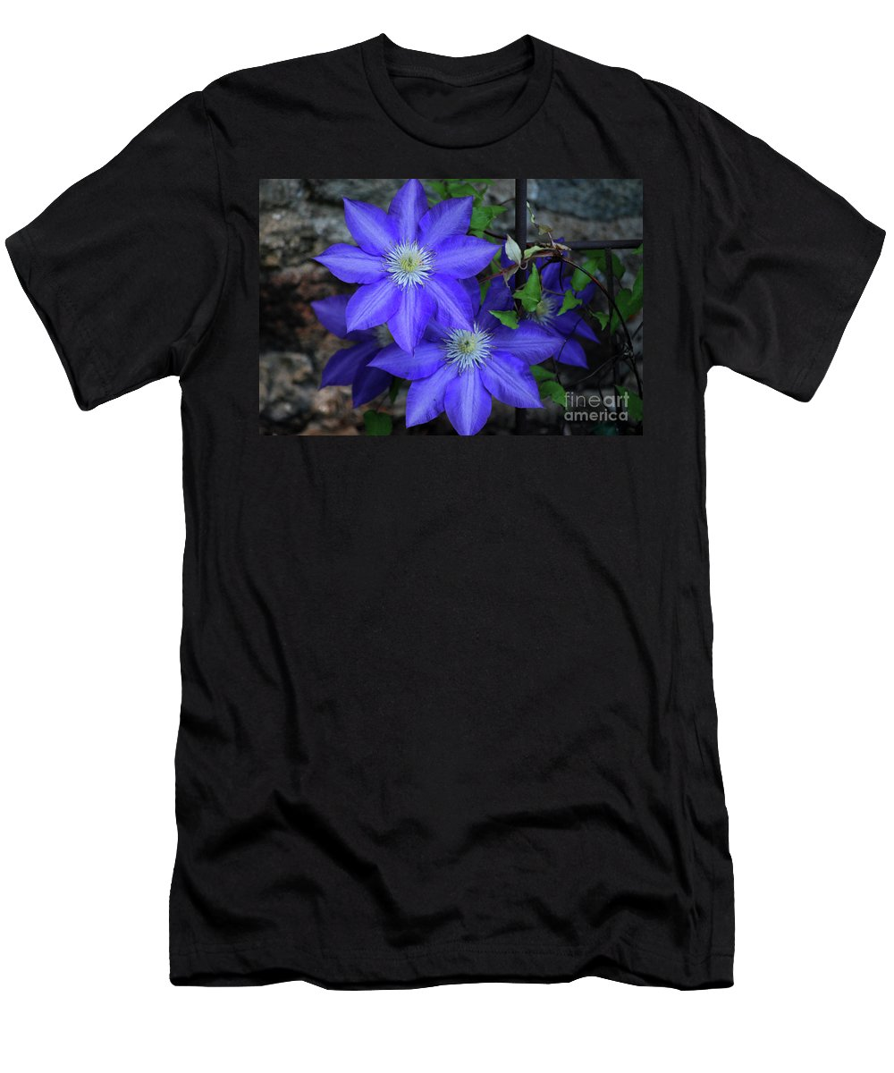 Clematis Men's T-Shirt (Athletic Fit) featuring the photograph Happy To Be Here by Lori Tambakis
