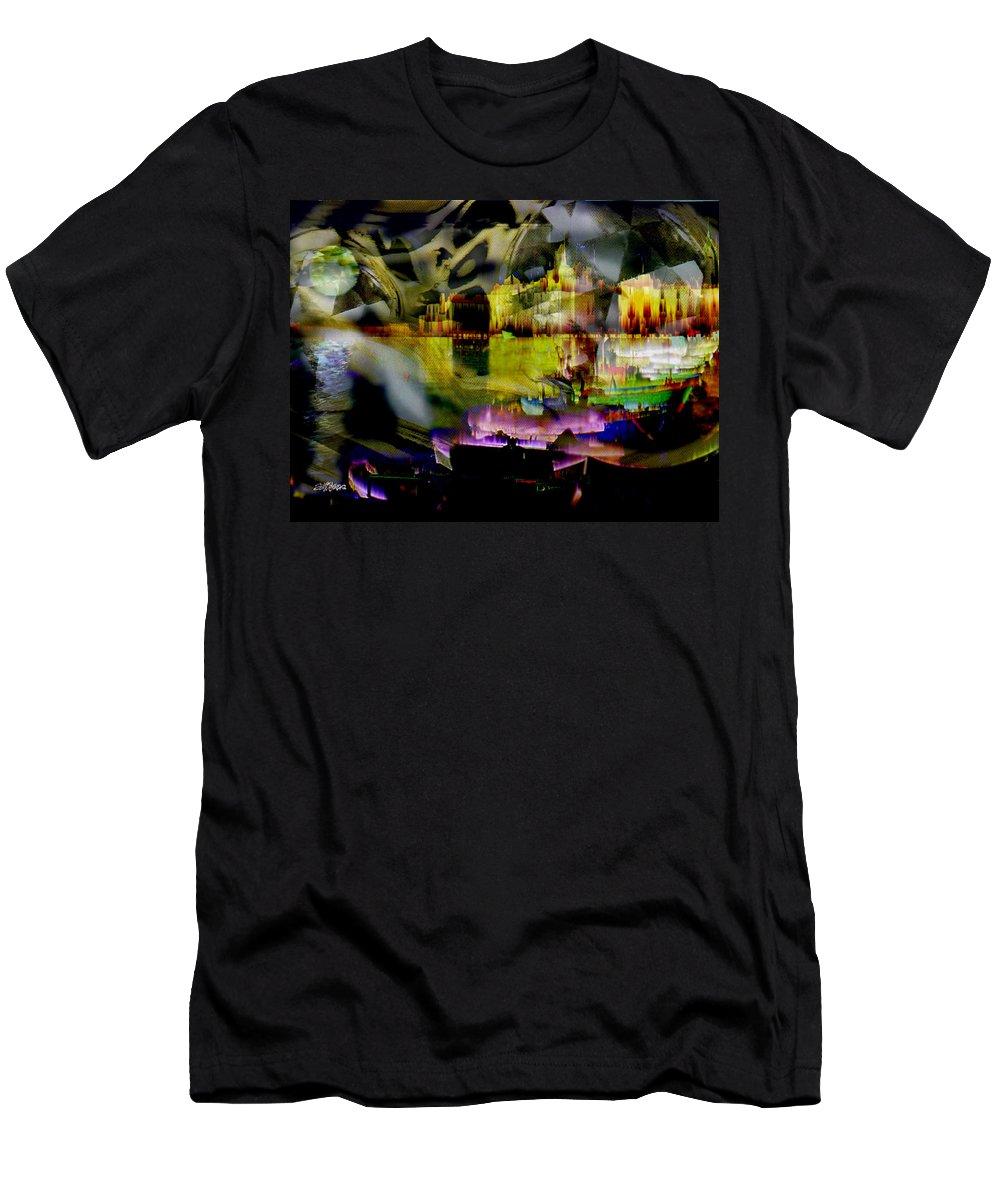 European Men's T-Shirt (Athletic Fit) featuring the digital art Harbor Scene Through A Vodka Bottle by Seth Weaver