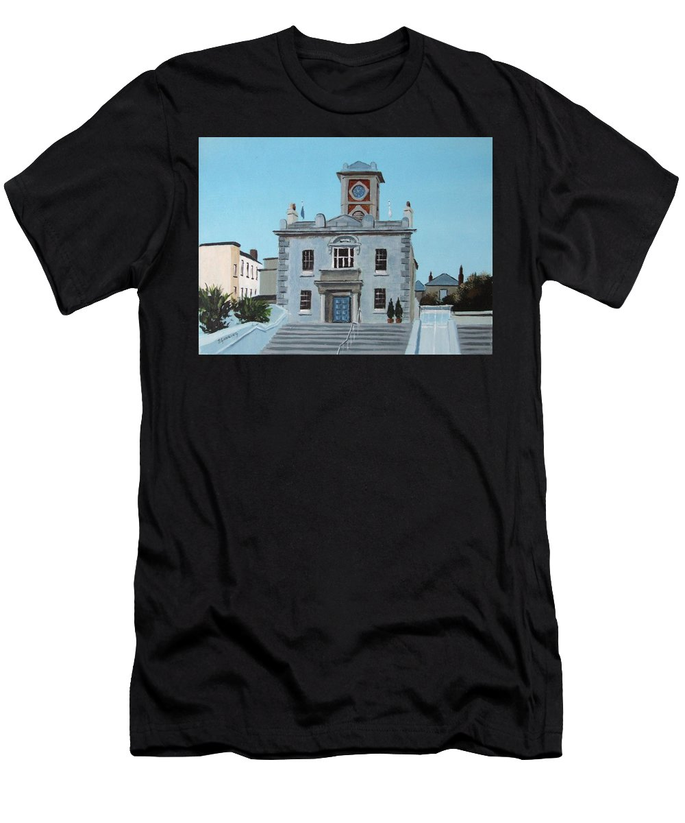 Dun Laoghaire Men's T-Shirt (Athletic Fit) featuring the painting Harbourmasters Office by Tony Gunning