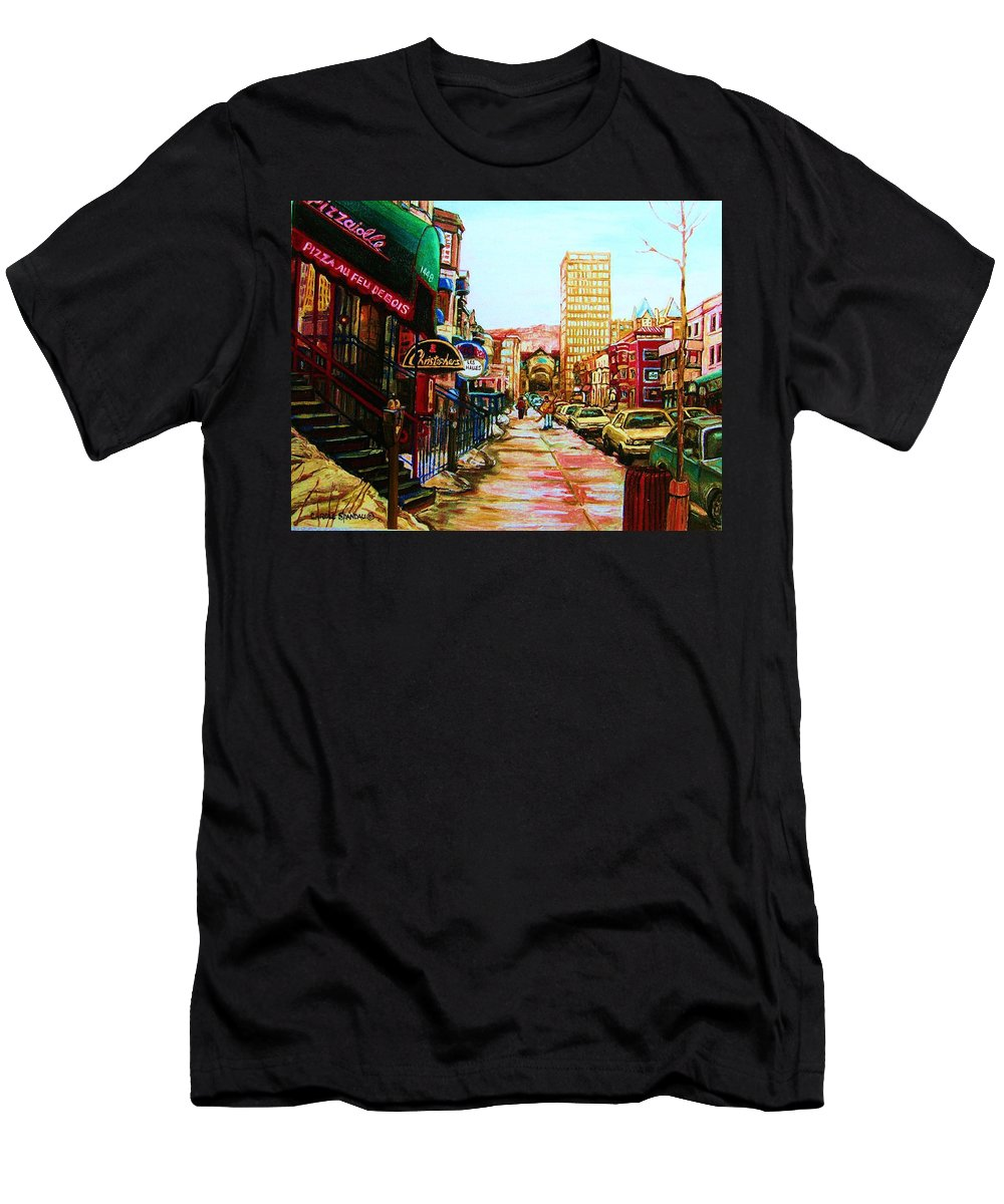 Hardrock Cafe Men's T-Shirt (Athletic Fit) featuring the painting Hard Rock Cafe by Carole Spandau