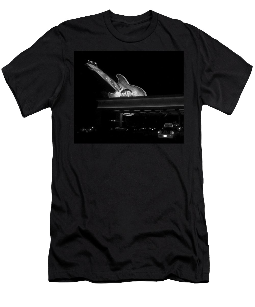Vegas Men's T-Shirt (Athletic Fit) featuring the photograph Hard Rock Cafe Sign 2 B-w by Anita Burgermeister