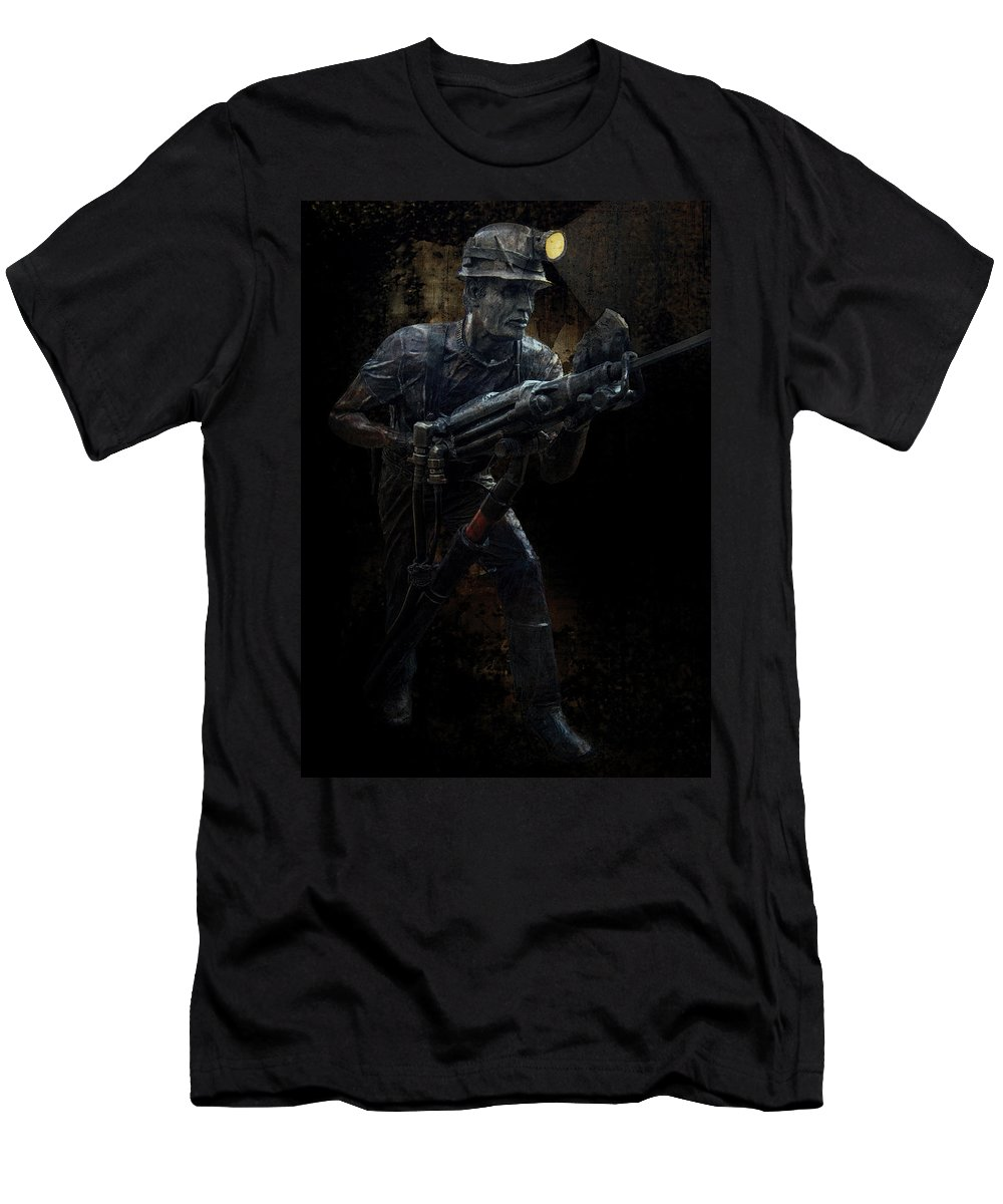 Miner Men's T-Shirt (Athletic Fit) featuring the photograph Hard Rock Mining Man by Daniel Hagerman