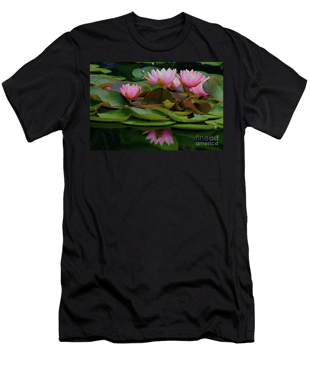 Hardy Men's T-Shirt (Athletic Fit) featuring the photograph Hardy Pink Water Lilies by Byron Varvarigos