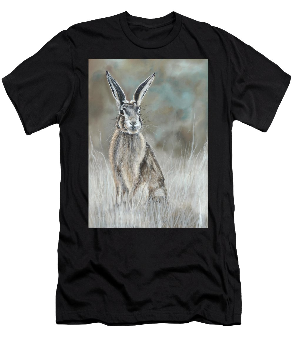Hare Men's T-Shirt (Athletic Fit) featuring the painting Hare At Dawn by Nicola Colbran