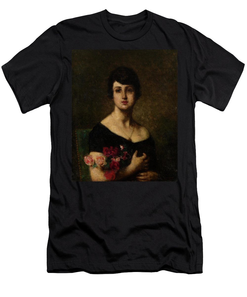 Harlamoff Men's T-Shirt (Athletic Fit) featuring the painting Harlamoff, Alexei 1840-1925 Female Portrait by Adam Asar
