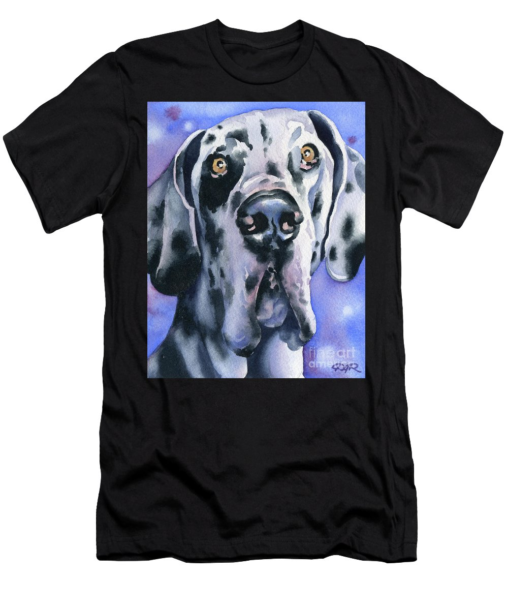 Harlequin Men's T-Shirt (Athletic Fit) featuring the painting Harlequin Great Dane by David Rogers
