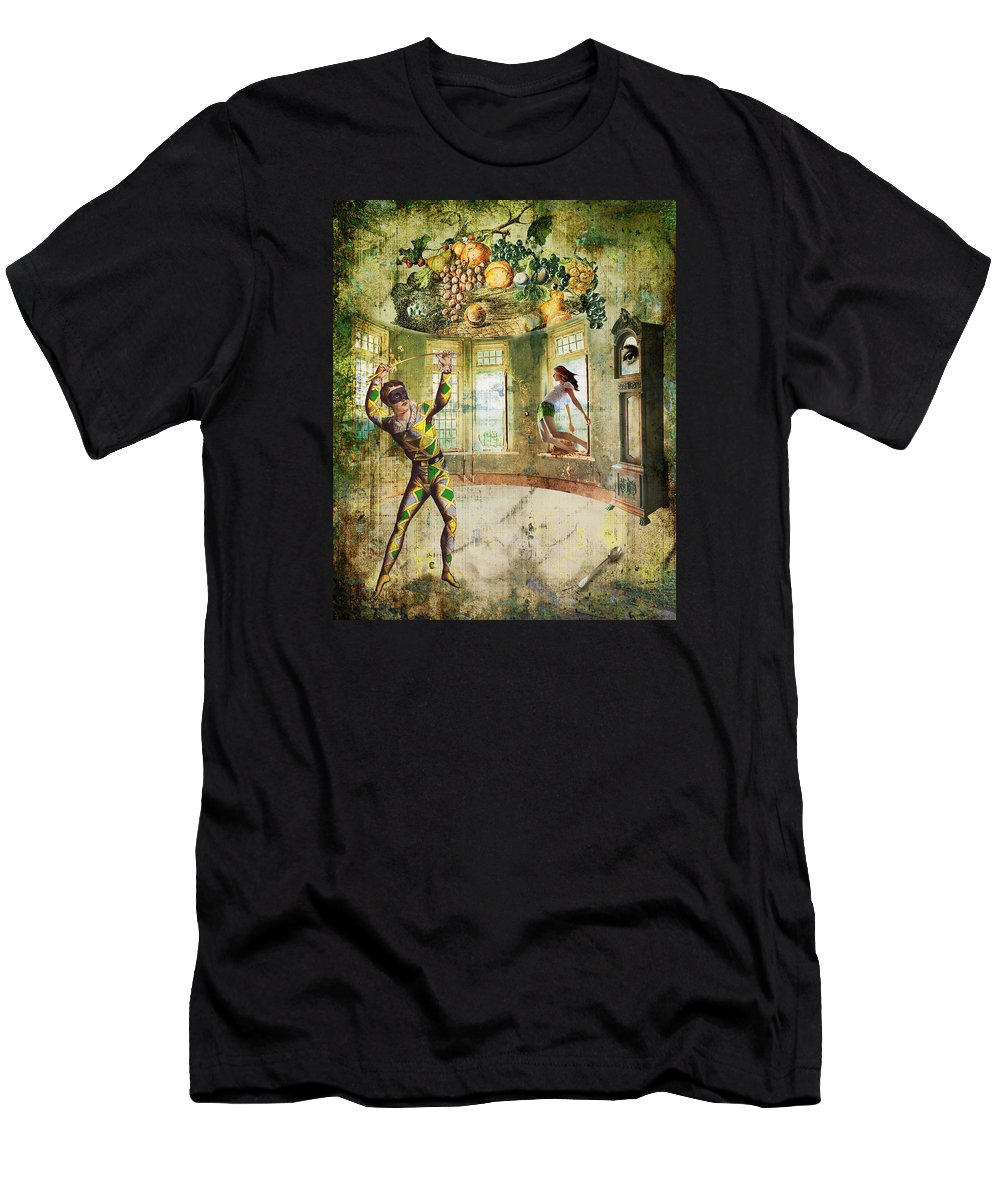 Green Men's T-Shirt (Athletic Fit) featuring the painting Harlequin by Van Renselar