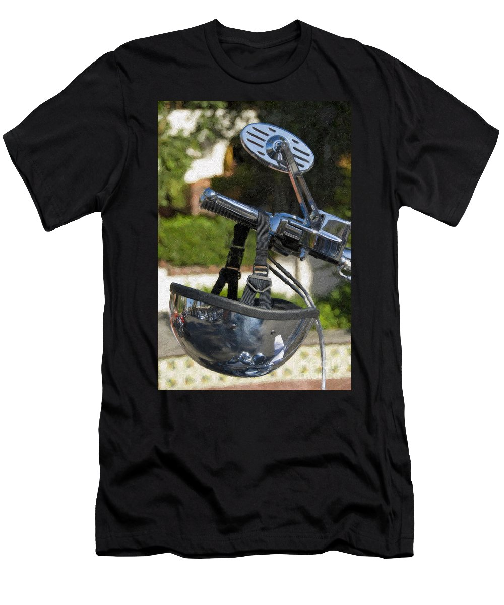 Helmet Men's T-Shirt (Athletic Fit) featuring the photograph Harley Davidson Helmet And Handlebar Controls Switches by David Zanzinger