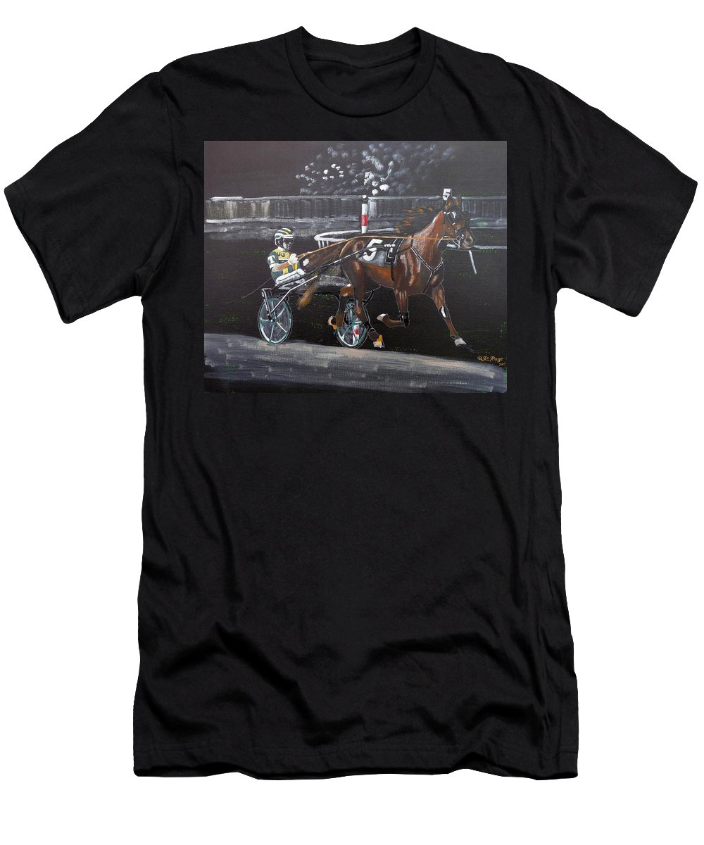 Tim Tetrick Men's T-Shirt (Athletic Fit) featuring the painting Harness Racing by Richard Le Page