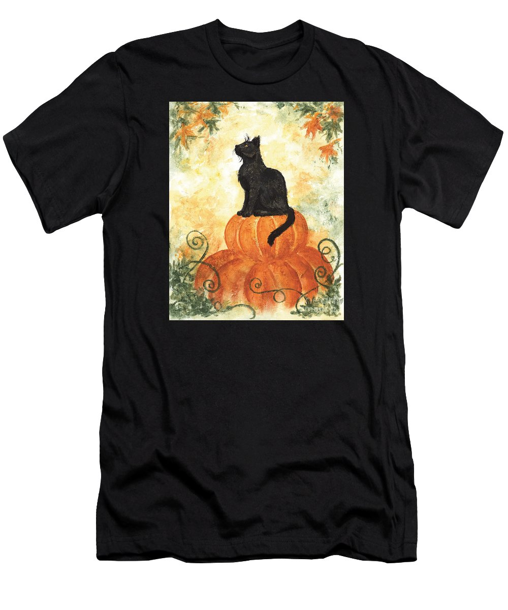 Cat Men's T-Shirt (Athletic Fit) featuring the painting Harvest Kitty by Brandy Woods