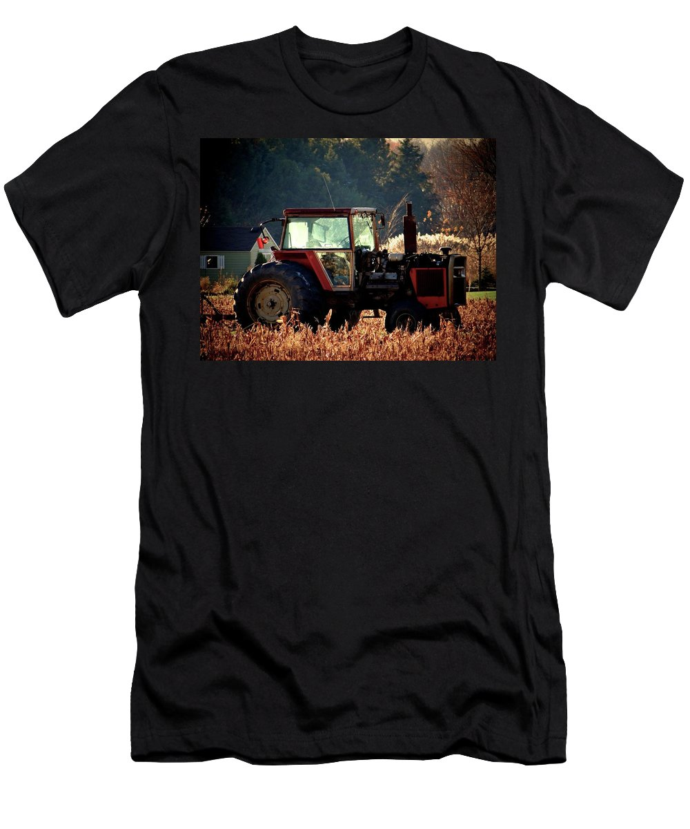 Tractor Men's T-Shirt (Athletic Fit) featuring the photograph Harvesting The Fields by Jenny Regan