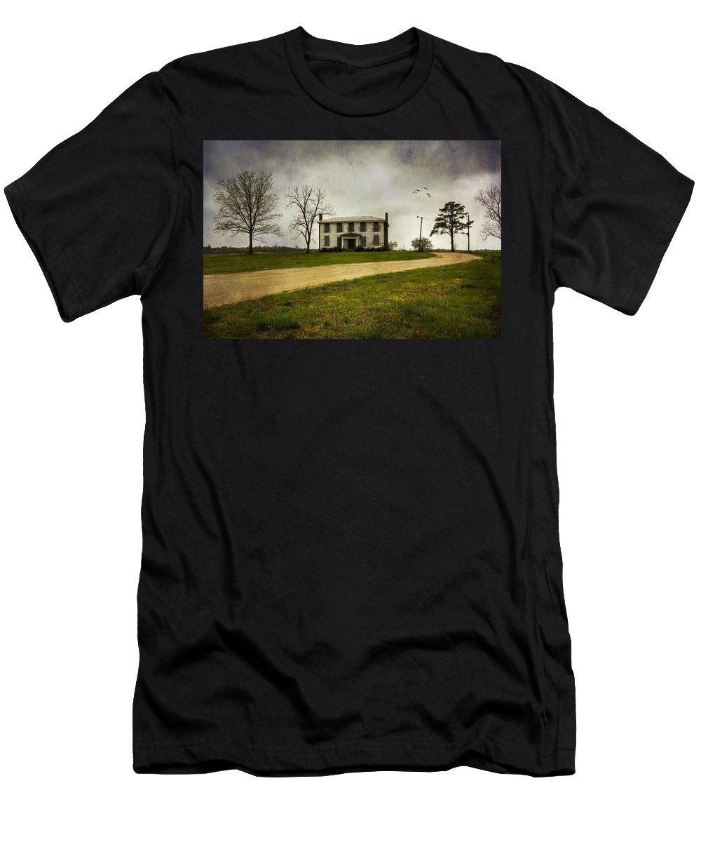 House Men's T-Shirt (Athletic Fit) featuring the photograph Haunted House On A Hill by Amy Jackson