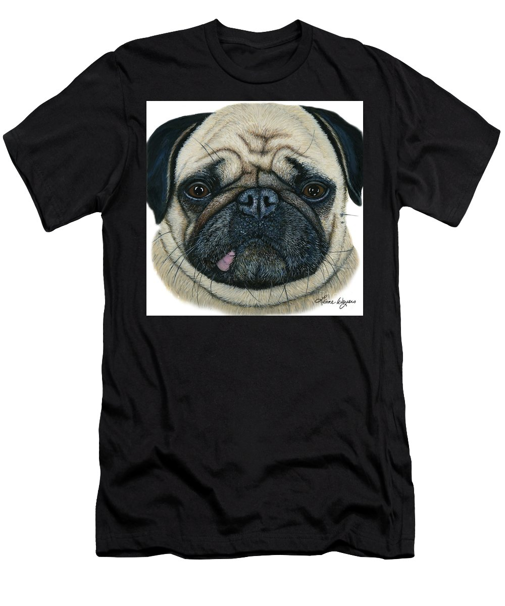Pug Men's T-Shirt (Athletic Fit) featuring the painting Have I Been Pugged by Liane Weyers