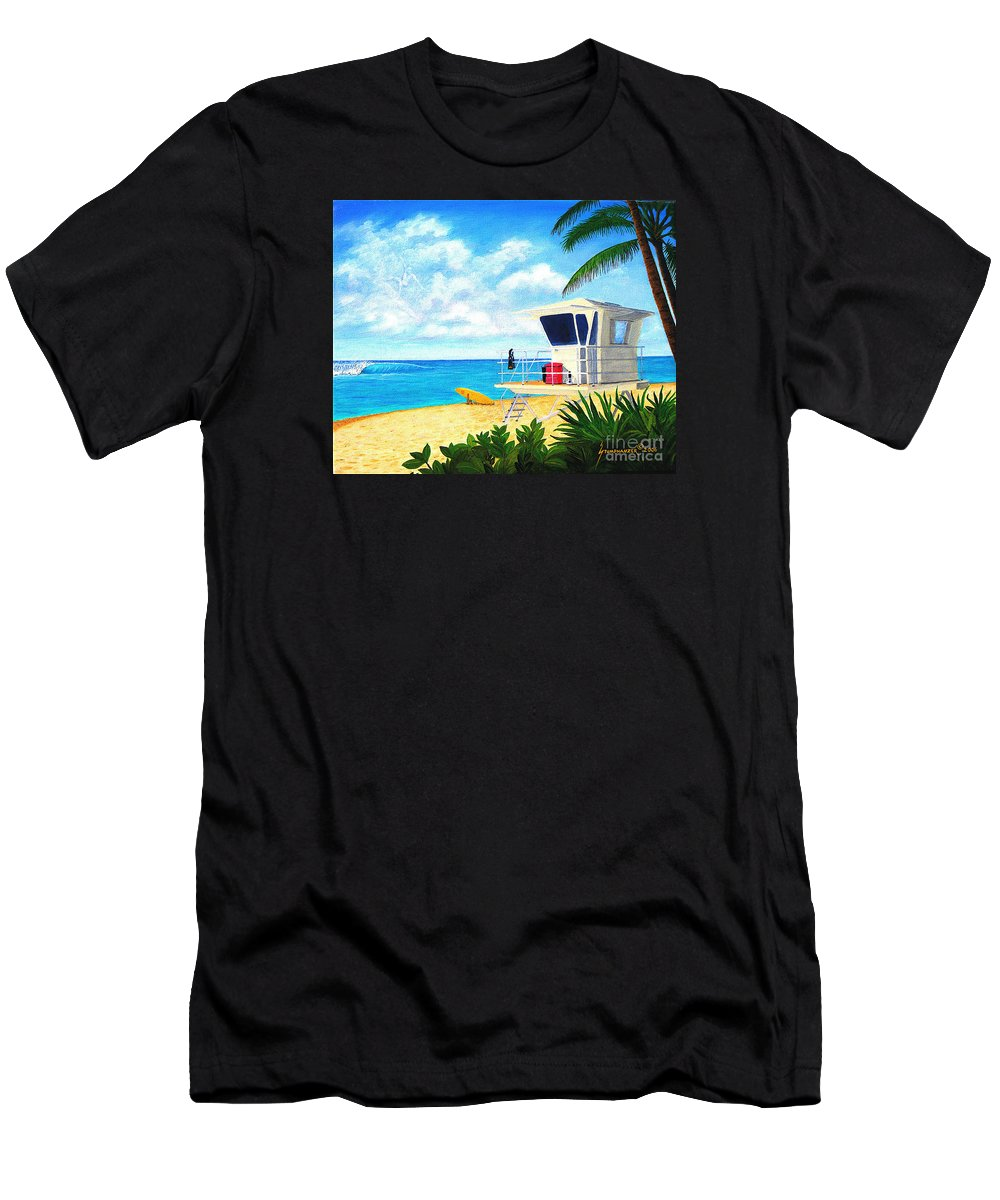 Hawaii T-Shirt featuring the painting Hawaii North Shore Banzai Pipeline by Jerome Stumphauzer