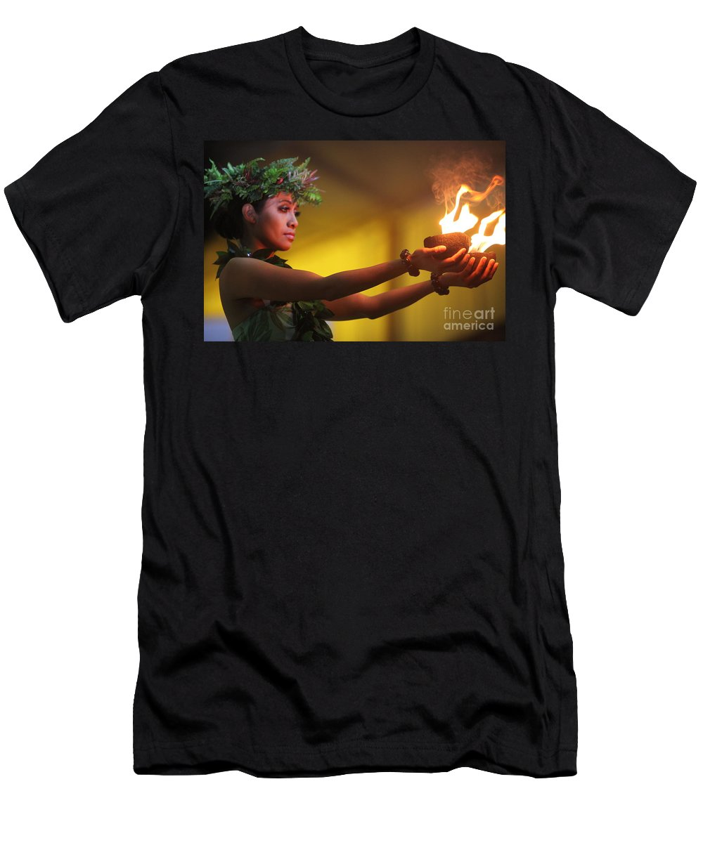 Fire Men's T-Shirt (Athletic Fit) featuring the photograph Hawaiian Dancer And Firepots by Nadine Rippelmeyer