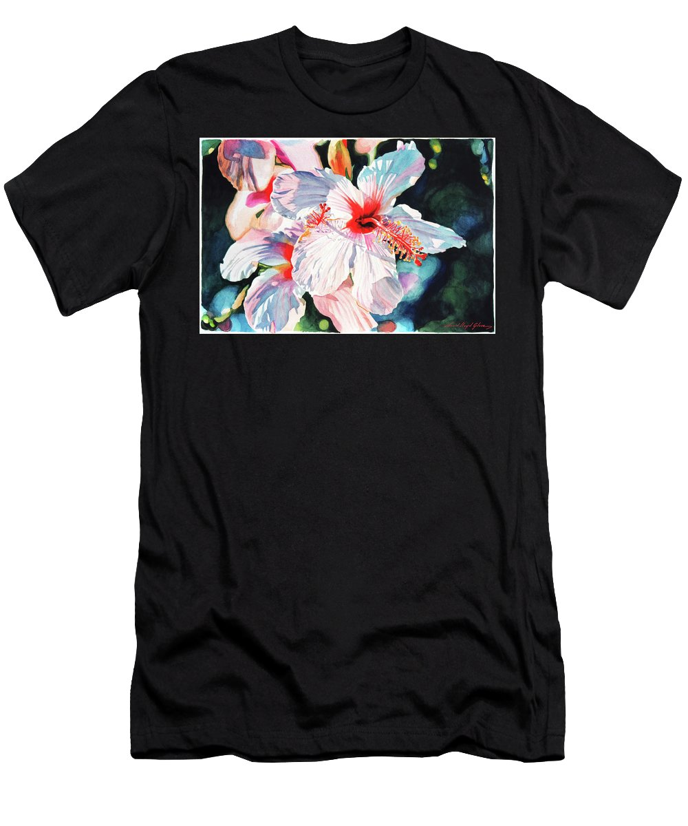 Hibiscus Men's T-Shirt (Athletic Fit) featuring the painting Hawaiian Hibiscus by David Lloyd Glover